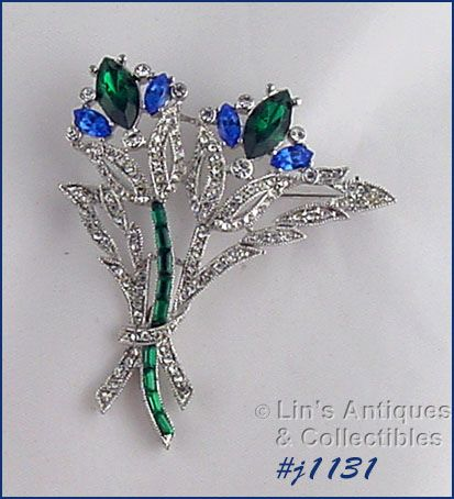 SIGNED EISENBERG ICE RHINESTONE THISTLE FLORAL BOUQUET BROOCH
