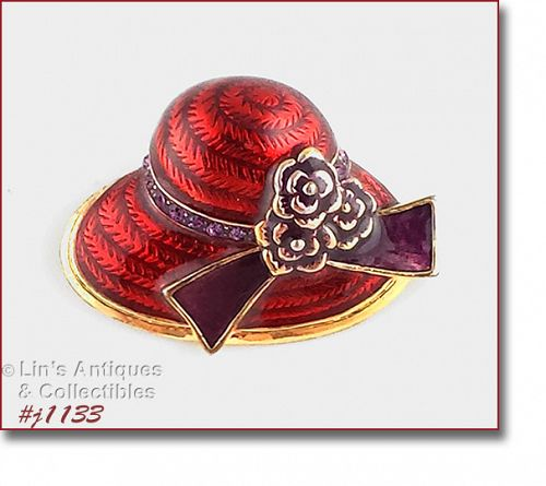 EISENBERG ICE RED HAT BROOCH WITH PURPLE RHINESTONE ACCENTS