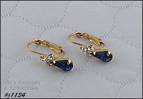 EISENBERG ICE CLEAR AND BLUE RHINESTONES PIERCED EARRINGS