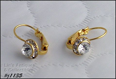 EISENBERG ICE HALO STYLE CLEAR RHINESTONE LEVER BACK PIERCED EARRINGS
