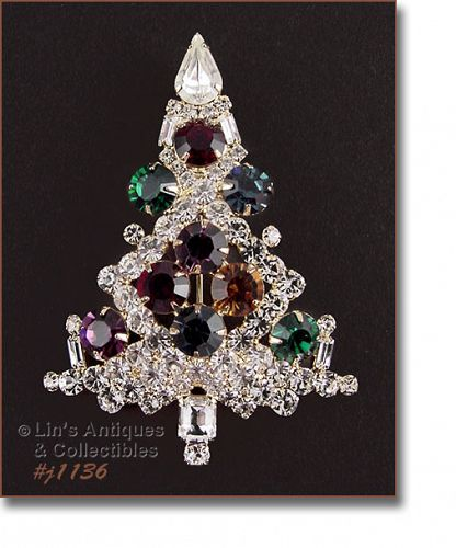 EISENBERG ICE LARGE CANDLE TREE PIN WITH MULTI COLOR RHINESTONES