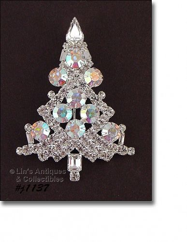 SIGNED EISENBERG ICE LARGE CANDLE TREE PIN CLEAR AND AB RHINESTONES