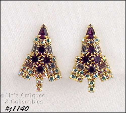 EISENBERG ICE SIGNED CANDLE TREE PURPLE AND AB RHINESTONE EARRINGS