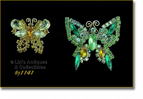 LOT OF TWO VINTAGE BUTTERFLY SHAPED RHINESTONE PINS