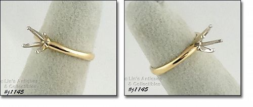 10K YELLOW GOLD SOLITAIRE RING MOUNT RING SIZE 4 1/2