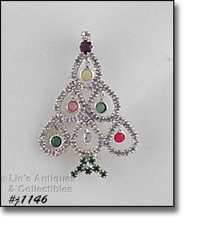 EISENBERG ICE RHINESTONE CHRISTMAS TREE SHAPED BROOCH