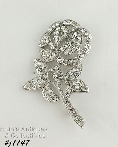 EISENBERG ICE CLEAR RHINESTONE ROSE SHAPED BROOCH