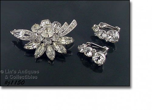 EISENBERG ICE CLEAR RHINESTONES PIN AND CLIP ON EARRINGS