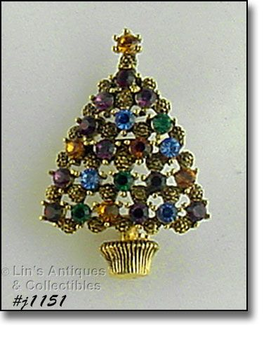 EISENBERG ICE MULTI COLOR RHINESTONES CHRISTMAS TREE PIN