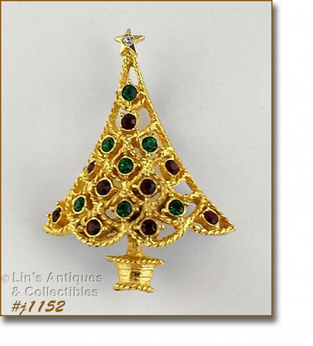 EISENBERG ICE CHRISTMAS TREE SHAPED PIN WITH MULTI COLOR RHINESTONES