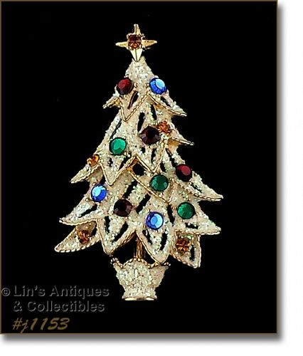 EISENBERG ICE GLITTER TREE WITH MULTI COLOR RHINESTONES BROOCH
