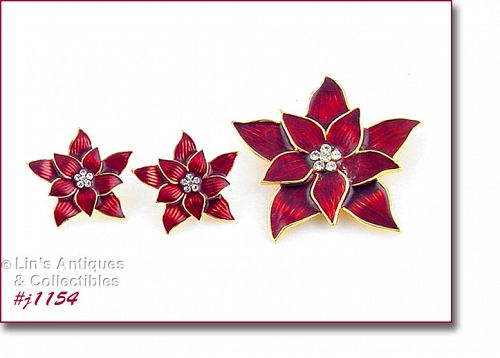 EISENBERG ICE RED POINSETTIA PIN AND MATCHING PIERCED EARRINGS