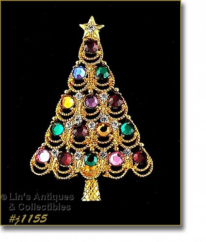 EISENBERG ICE CHRISTMAS TREE PIN WITH MULTI COLOR RHINESTONES