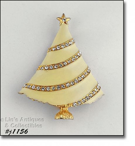EISENBERG ICE CHRISTMAS TREE PIN IVORY ENAMEL WITH RHINESTONE GARLAND