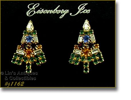 Eisenberg Ice Candle Tree Rhinestone Earrings Pierced