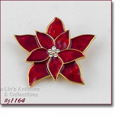 PREMIER DESIGNS VINTAGE RED POINSETTIA CHRISTMAS BROOCH