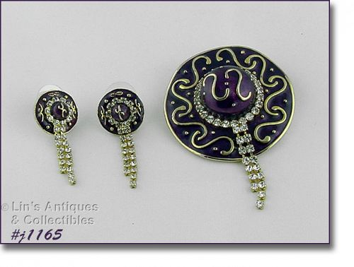 EISENBERG ICE PURPLE HAT PIN AND MATCHING PIERCED EARRINGS