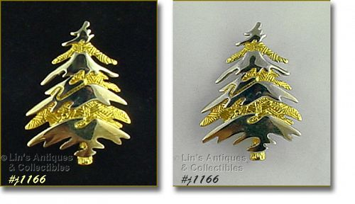 EISENBERG ICE GOLD TONE CHRISTMAS TREE SHAPED PIN