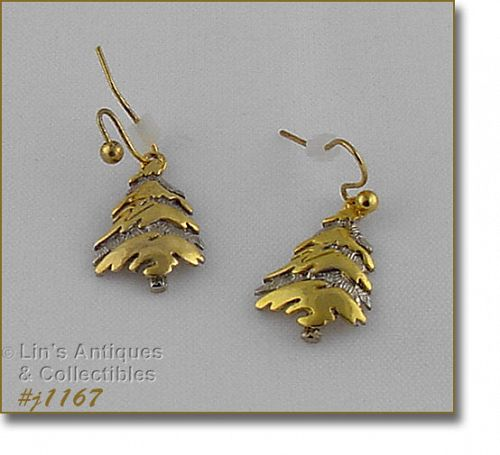 Eisenberg Ice Signed Christmas Tree Earrings Silver and Gold Tone