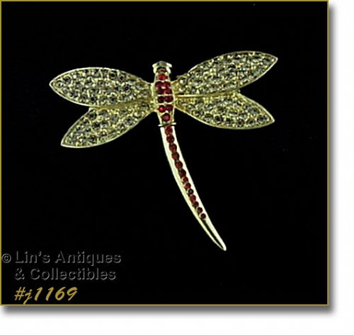 EISENBERG ICE GOLD TONE WITH RHINESTONES DRAGONFLY PIN