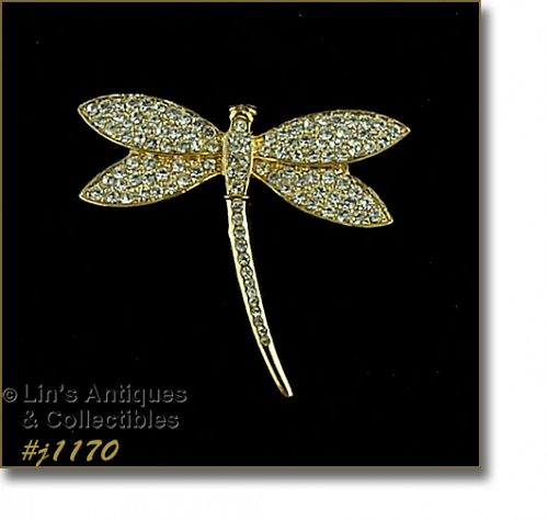 EISENBERG ICE GOLD TONE WITH CLEAR RHINESTONES DRAGONFLY PIN