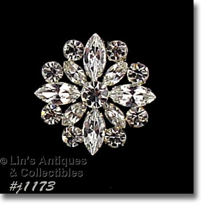 EISENBERG ICE ROUND SHAPED BROOCH COVERED WITH CLEAR RHINESTONES