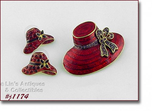 SIGNED EISENBERG ICE RED HAT BROOCH AND PIERCED EARRINGS