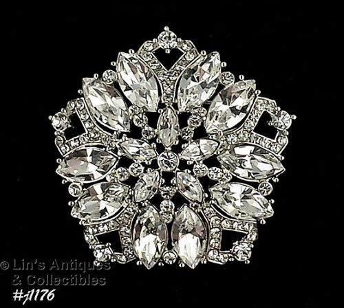 SIGNED EISENBERG ICE CLEAR RHINESTONES 5 SIDED PENTAGON SHAPE PIN