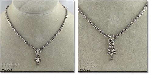 SIGNED EISENBERG ICE NECKLACE WITH CLEAR RHINESTONES PRONG SET