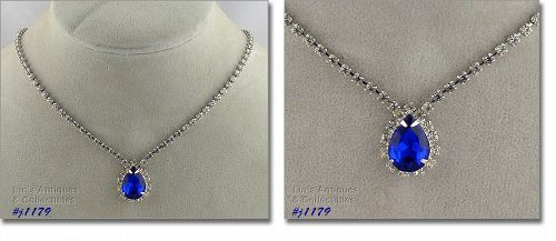 EISENBERG ICE CLEAR RHINESTONE NECKLACE WITH ROYAL BLUE RHINESTONE