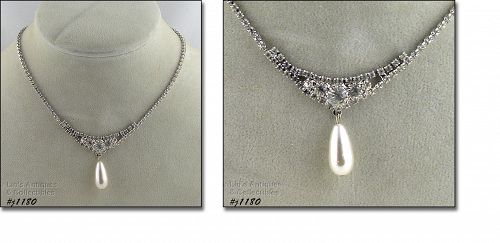 EISENBERG ICE CLEAR RHINESTONE NECKLACE WITH FAUX PEARL DANGLE
