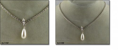 EISENBERG ICE CLEAR RHINESTONE AND FAUX PEARL DANGLE NECKLACE