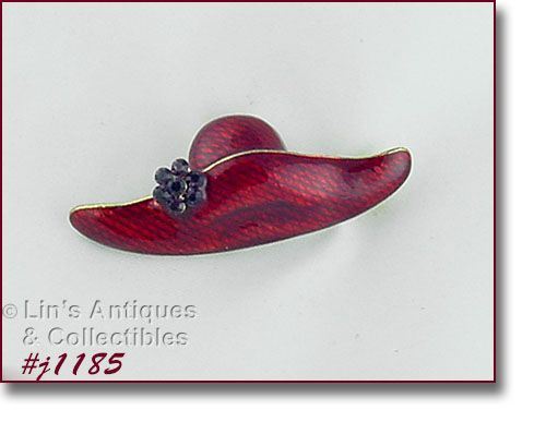 EISENBERG ICESigned  RED ENAMEL HAT SHAPED PIN