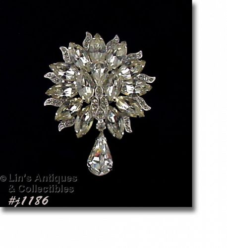 EISENBERG ICE CLEAR RHINESTONE VINTAGE BROOCH WITH RHINESTONE DANGLE