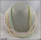 JOAN RIVERS MULTI STRAND PASTEL COLOR FAUX PEARLS