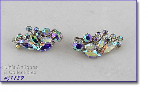 VINTAGE WEISS AURORA BOREALIS RHINESTONE CLIP BACK EARRINGS