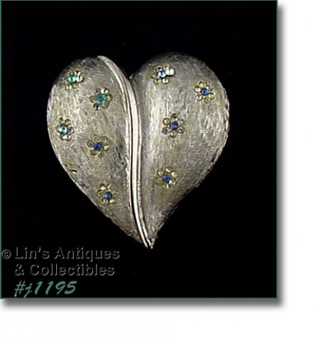 VINTAGE RHINESTONES SILVER TONE HEART SHAPED PIN MARKED BSK