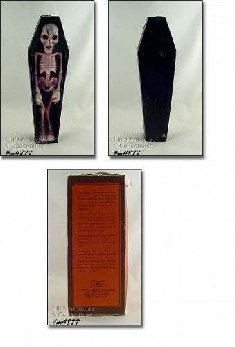 GURLEY HALLOWEEN SKELETON IN COFFIN VINTAGE CANDLE