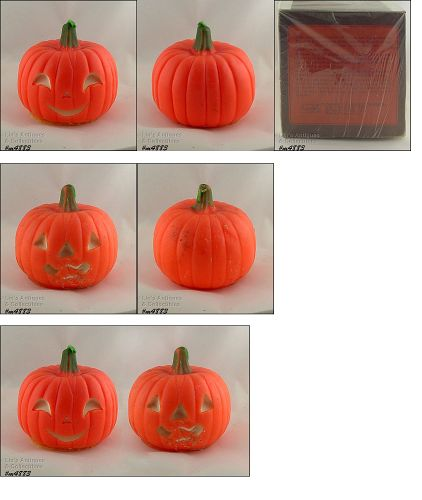 GURLEY BRIGHT ORANGE HALLOWEEN PUMPKIN SHAPED VINTAGE CANDLE