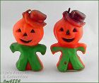 GURLEY TWO HALLOWEEN PUMPKIN HEAD SCARECROWS VINTAGE CANDLES