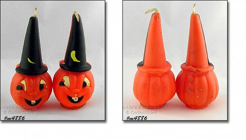 GURLEY TWO JACK-O-LANTERNS WITH WIZARD HATS VINTAGE CANDLES