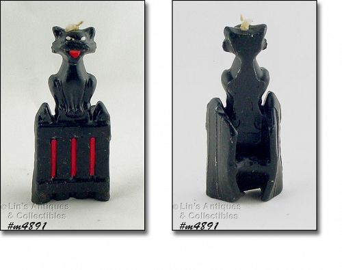 GURLEY BLACK HALLOWEEN CAT ON A GATE VINTAGE CANDLE