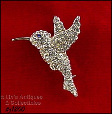 SIGNED EISENBERG ICE CLEAR RHINESTONES HUMMINGBIRD PIN