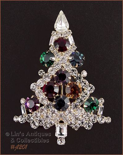 SIGNED EISENBERG ICE LARGE CANDLE TREE PIN MULTI COLOR RHINESTONES