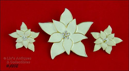 Eisenberg Ice Signed Ivory Color Poinsettia Pin and Earrings Clip Back