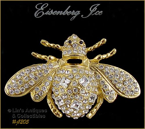 SIGNED EISENBERG ICE LARGE BUMBLE BEE SHAPED PIN