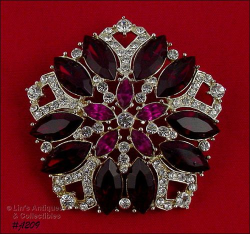 SIGNED EISENBERG ICE FIVE SIDED RED CLEAR AND FUCHIA RHINESTONE PIN
