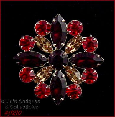 EISENBERG ICE SIGNED SHADES OF FALL COLORS RHINESTONE PIN