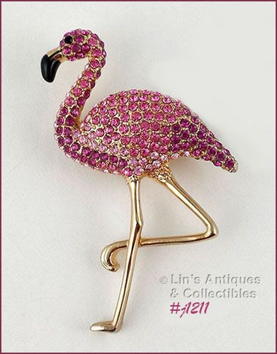 EISENBERG ICE PINK RHINESTONES FLAMINGO PIN WITH GOLD TONE LEGS