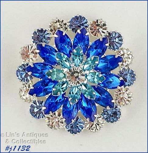 Signed Eisenberg Ice Rhinestone Pin Clear and Shades of Blue